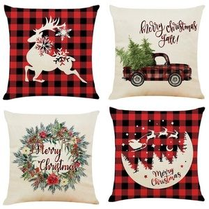 NWT Christmas themed pillow case covers